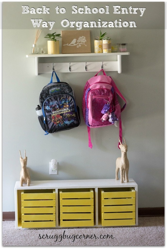 Back to School Landing zone with hanging hooks and cubbies