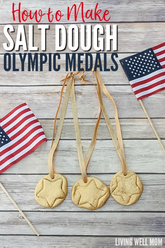 Celebrate the Olympics by making fun DIY Salt Dough Olympic Medals with your kids! They're a fun craft for children of all ages and they'll love wearing their very own gold medals as you watch favorite athletes compete!