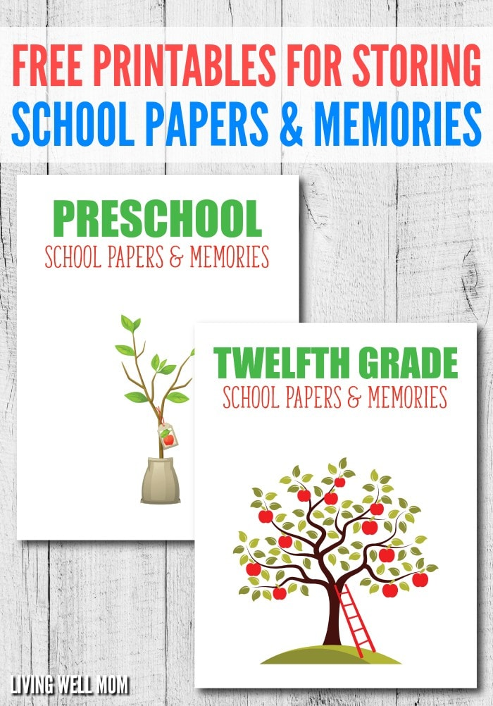 Need a better way to store your kids' school memories? Here's the inexpensive, simple way to organize & store school papers & memories with FREE printables!
