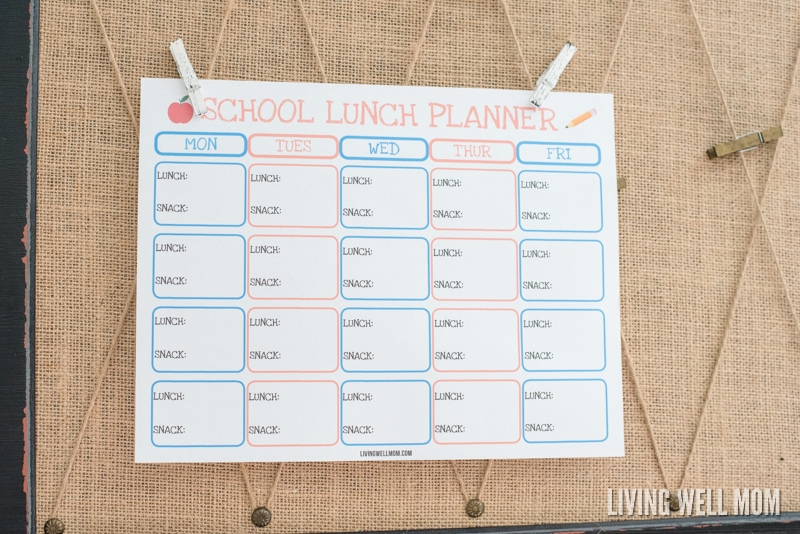 Tired of sending old peanut butter & jelly sandwiches to school? Stay organized and add variety to your kids' snacks and lunches with this free printable school lunch planner. Plus it helps kids independently pack their own lunches!