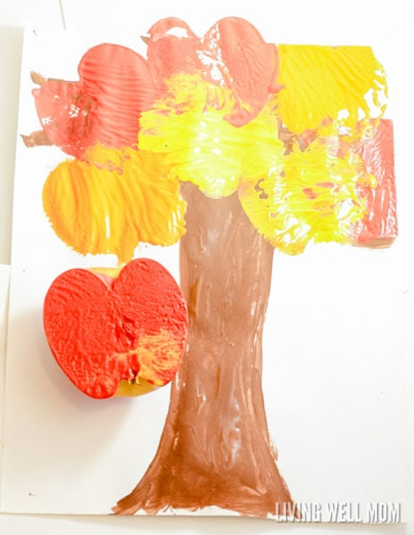Apple stamping preschooler art craft