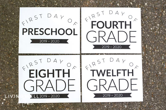 first day of school signs all grades
