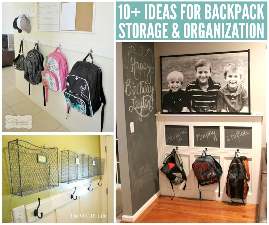 backpacks on wall hooks