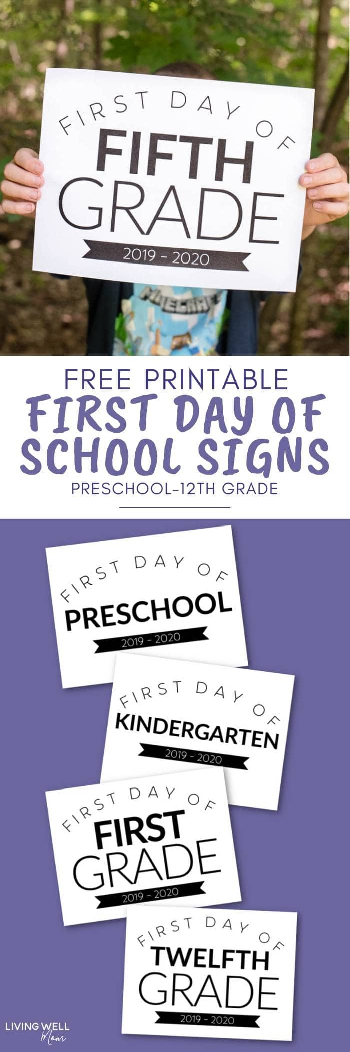 free printable first day of school signs all grades