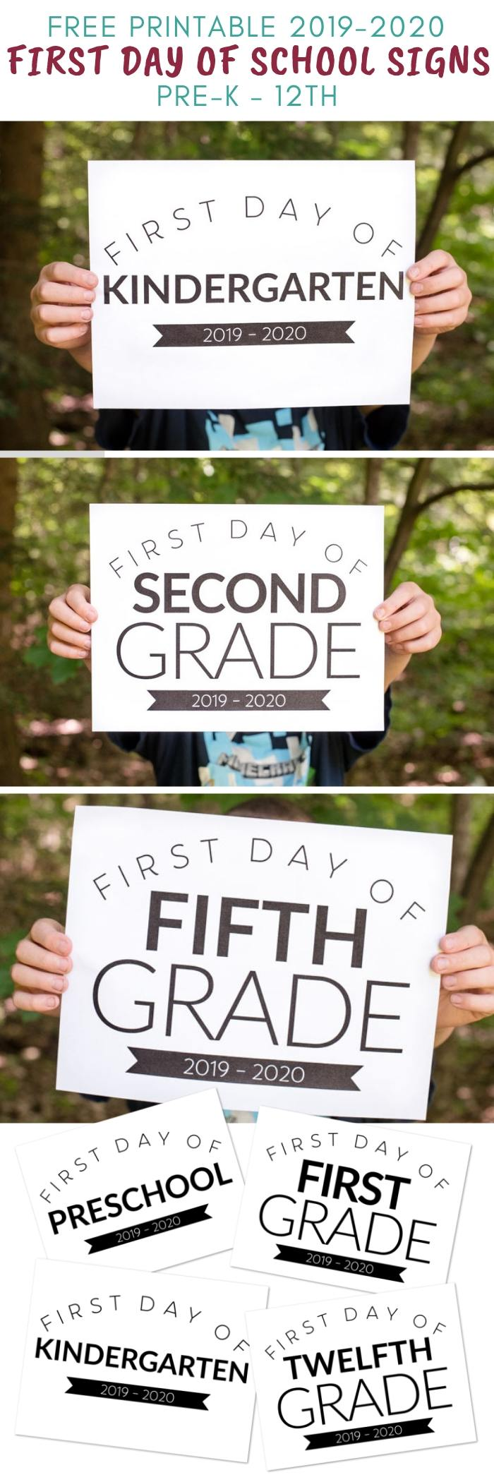 first day of school signs 2019 2020 printable