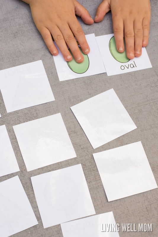 Preschoolers will love learning shapes with this free printable Apple Shape Matching Cards game!
