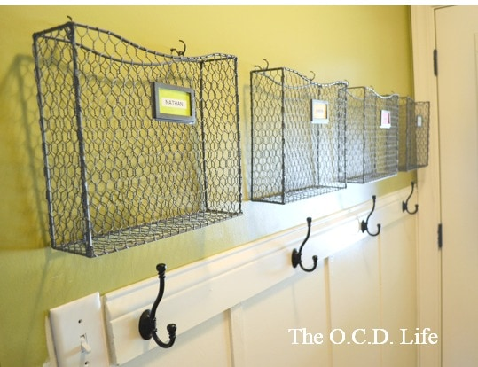 Backpack Organization & Storage area with hanging hooks and wire baskets