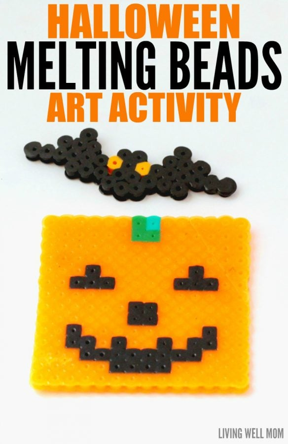 Halloween Melting Bead Art is a great activity to do with kids. Here's the simple pattern for how to make a fun jack-o-lantern and Halloween bat.