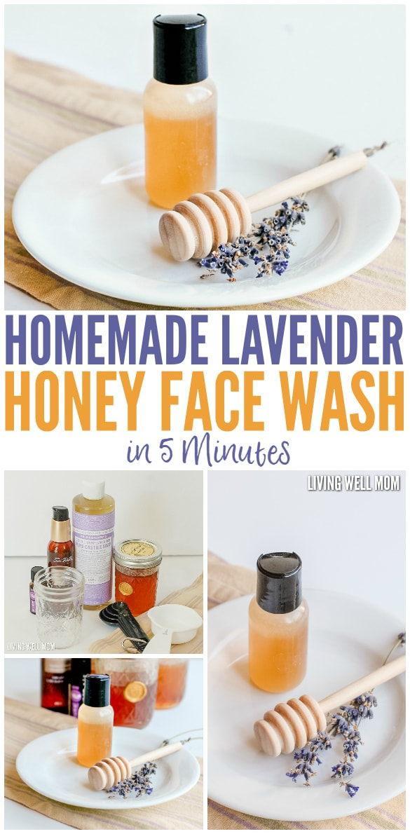 Homemade Lavender Honey Face Wash in 5 Minutes! This face wash takes just 5 minutes to make and uses essential oils and all-natural ingredients as a wonderful homemade cleanser. Get the step-by-step easy directions here: