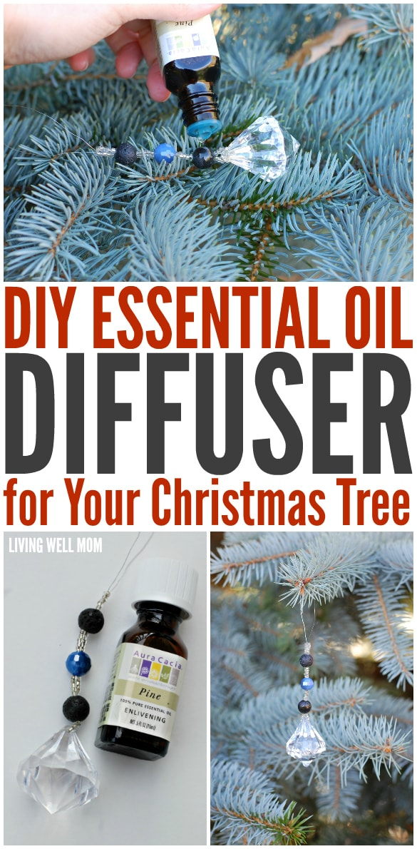 This DIY Essential Oil Diffuser is a great all-natural way to add that lovely pine scent to your fake Christmas tree. It's simple to make and pretty - the diffuser looks like a pretty bead ornament!