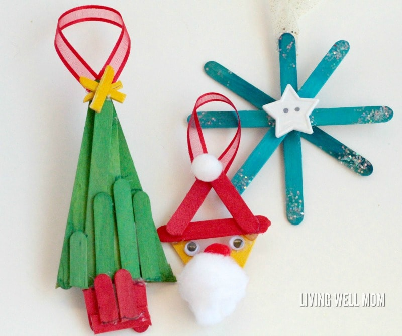 Simple Popsicle Stick Ornaments - these adorable homemade ornaments are so easy to make, kids will love crafting them for grandparents, parents, teachers, or just for fun this Christmas! Get the easy step-by-step tutorial here: