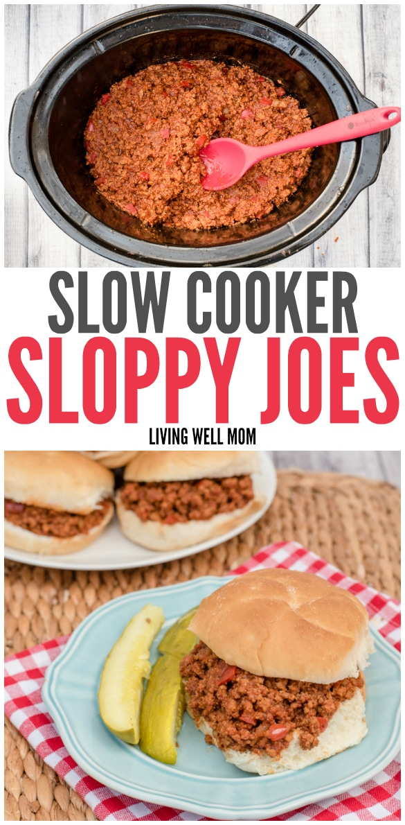Collage of sloppy joe filling in crockpot insert and a complete plated version
