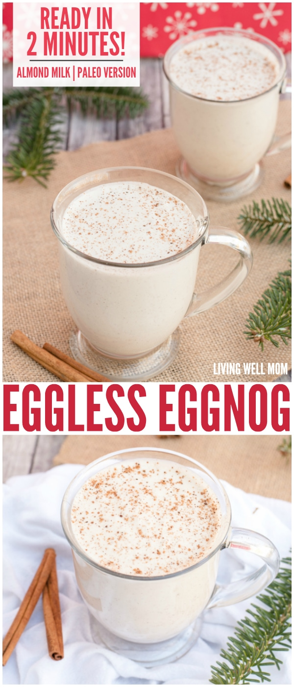 Eggless Eggnog - In just 2 minutes, you can whip up a batch of this delicious creamy eggfree eggnog! It's also dairy-free, Paleo-friendly, and delicious with almond milk or coconut milk - your choice!