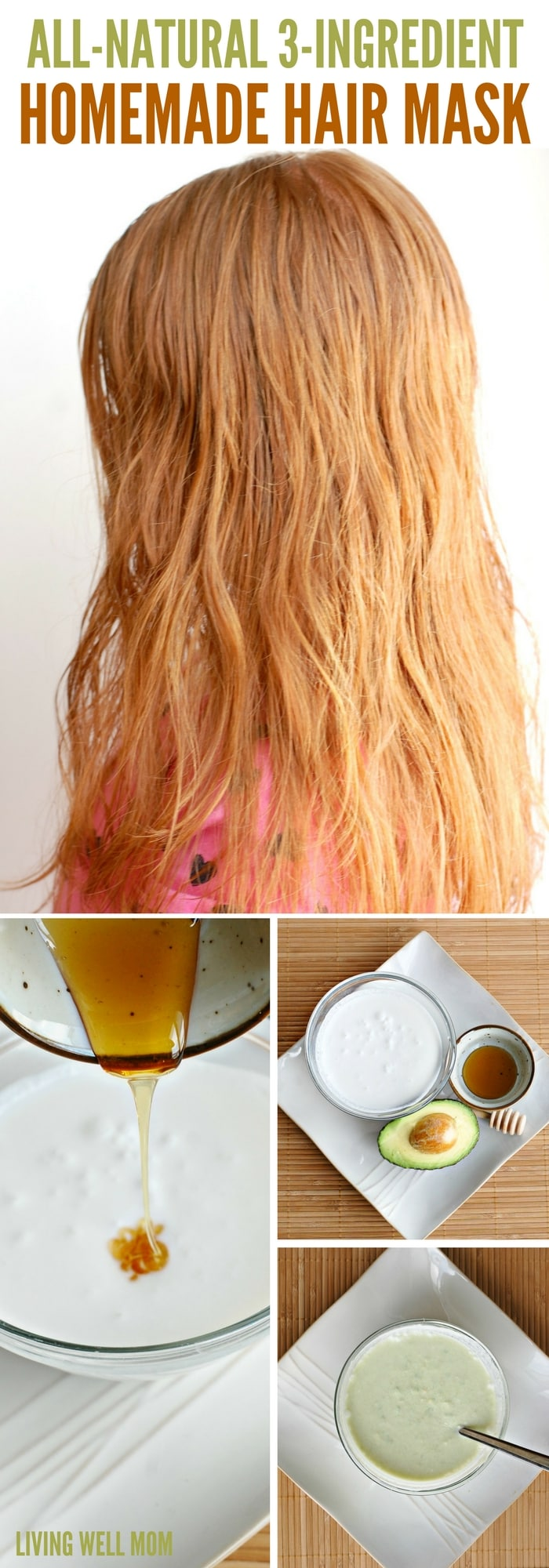 Deep condition and restore dull hair with this simple 3-ingredient, all-natural homemade hair mask. It's gentle and easy enough to use on kids too!