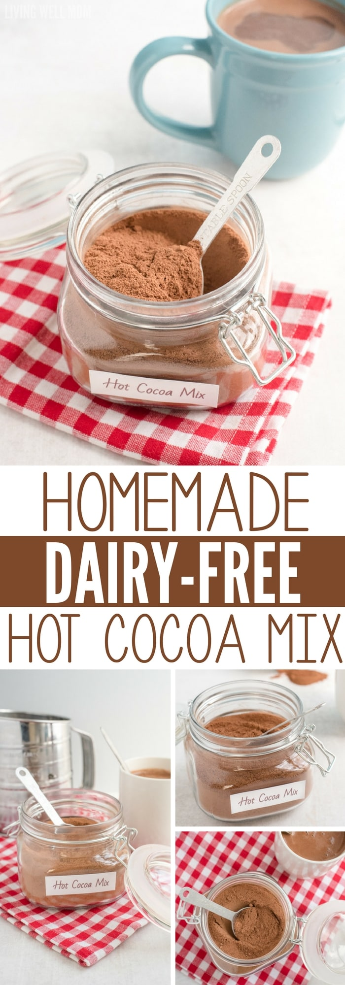 homemade dairy-free hot cocoa mix collage with multiple photos