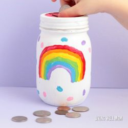 Rainbow Mason Jar Piggy Bank