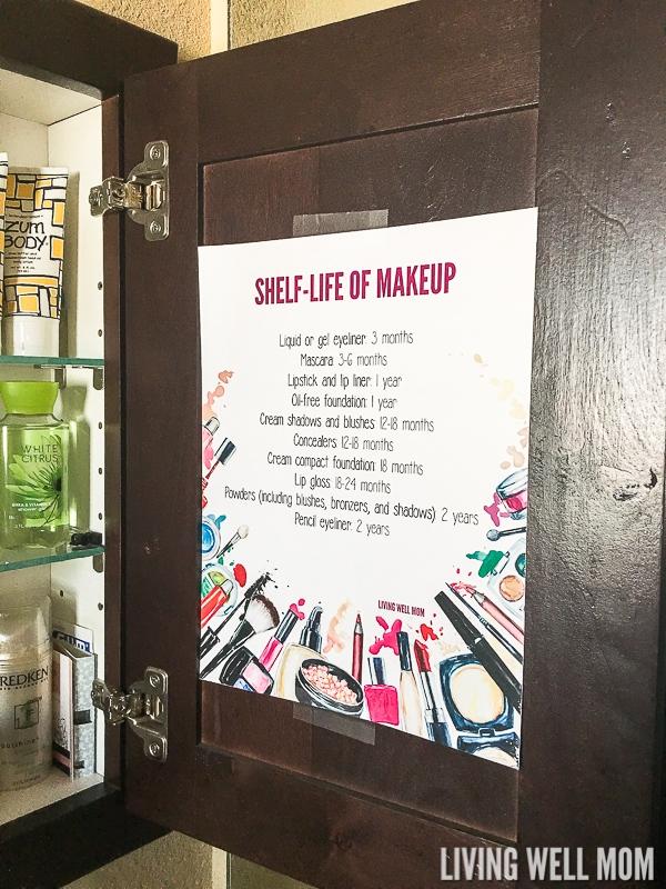 shelf life of makeup printable on dark cupboard