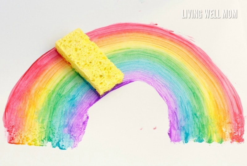 If your kids love rainbows, then they will adore this colorful rainbow craft! Sponge painting has never been as colorful or fun as it is now!