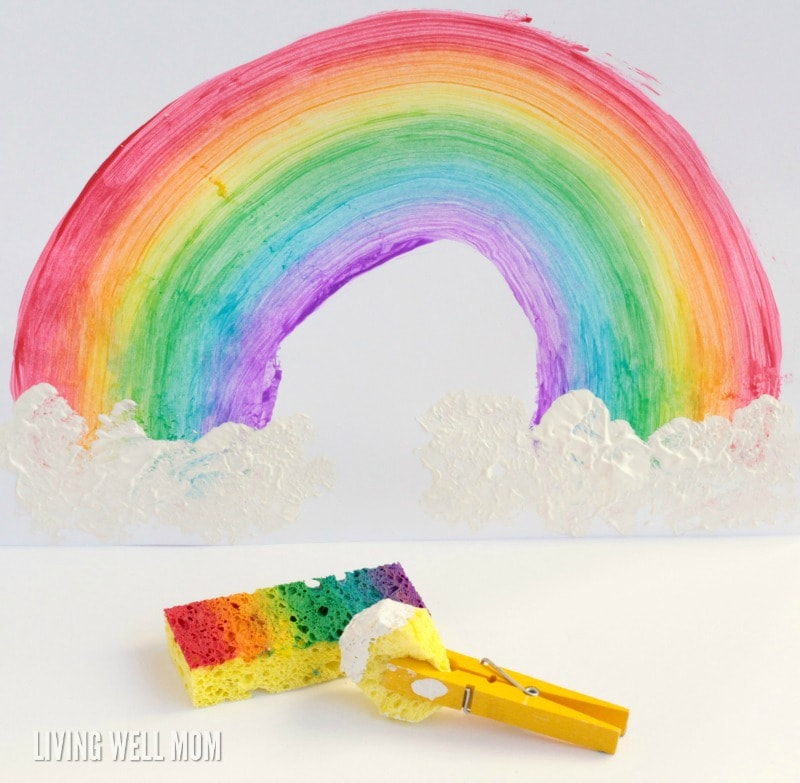 How to make a fun rainbow using sponge paint! Kids will enjoy this fun, simple technique and they'll love their colorful rainbow art!