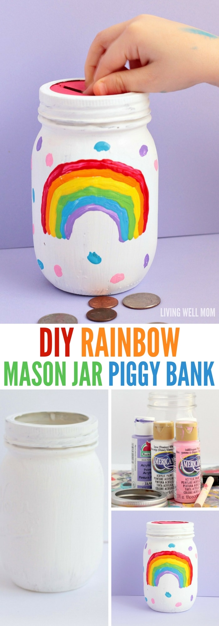 Diy rainbow mason jar piggy bank for How to make a piggy bank you can t open