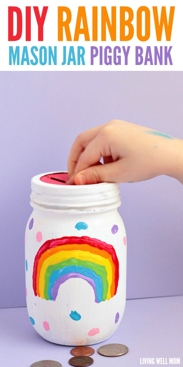 Diy rainbow mason jar piggy bank for How to make a simple piggy bank