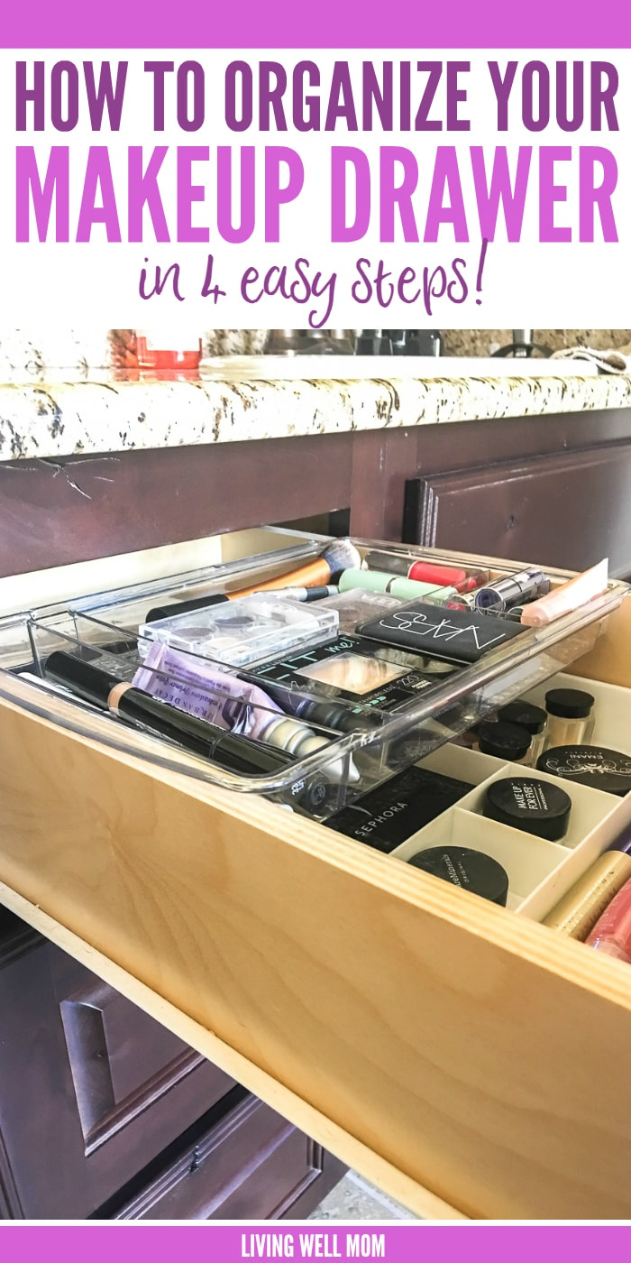 makeup drawer with organized sections