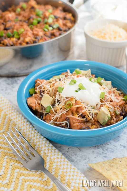 A serving on easy enchilada casserole with avocado and green onions on top.