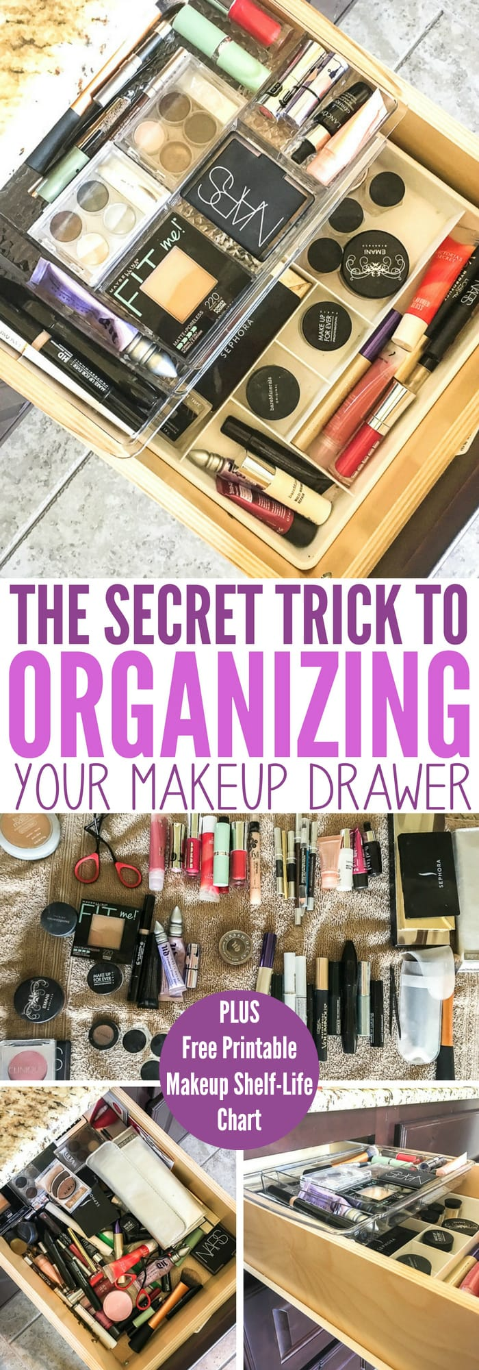 secret trick to organizing your makeup drawer collage of photos