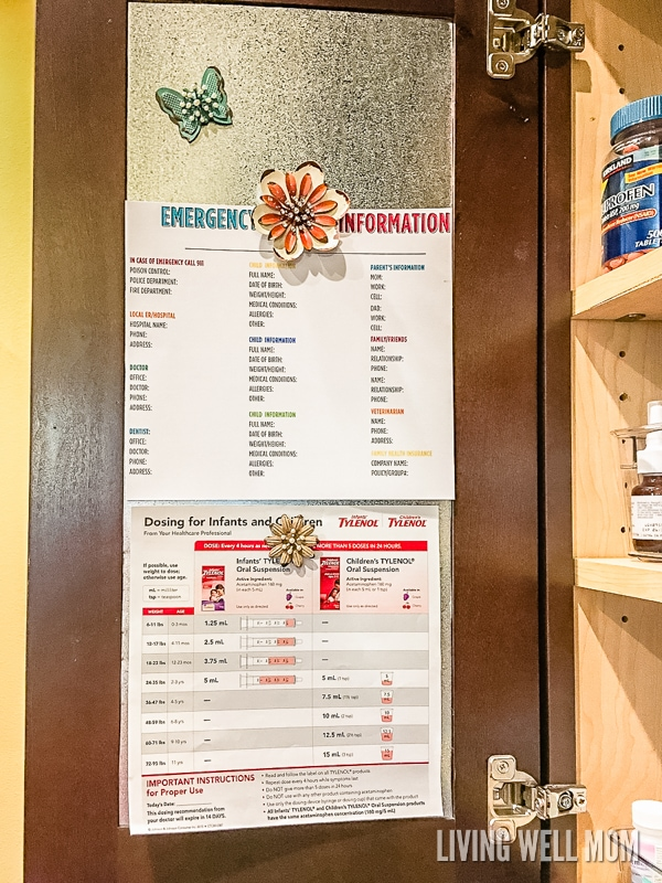 metal magnetic board in medicine cabinet with emergency info list and magnets