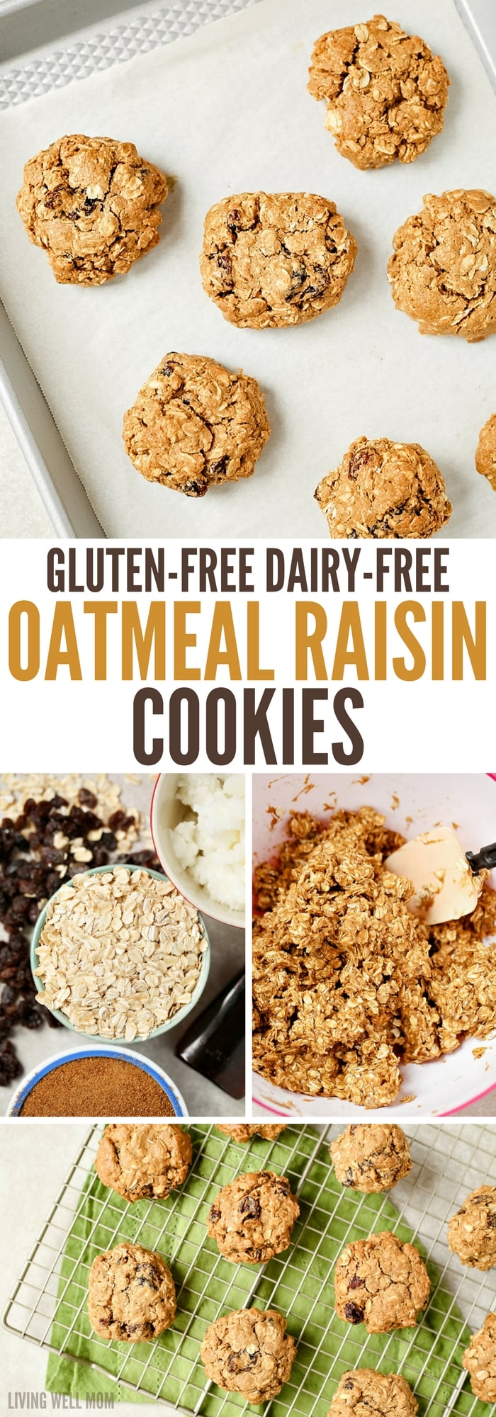 Gluten-free, dairy-free Oatmeal Raisin Cookies are so chewy, thick, and delicious, no one ever guesses they're not 'regular cookies! This kid-favorite recipe is deliciously spiced with cinnamon and a hint of nutmeg and chock full of raisins.