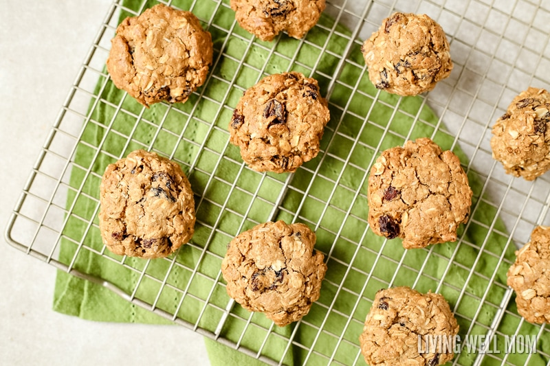 These gluten-free, dairy-free Oatmeal Raisin Cookies are so chewy, thick, and delicious, no one ever guesses they're not 'regular cookies! This kid-favorite recipe is deliciously spiced with cinnamon and a hint of nutmeg and chock full of raisins.