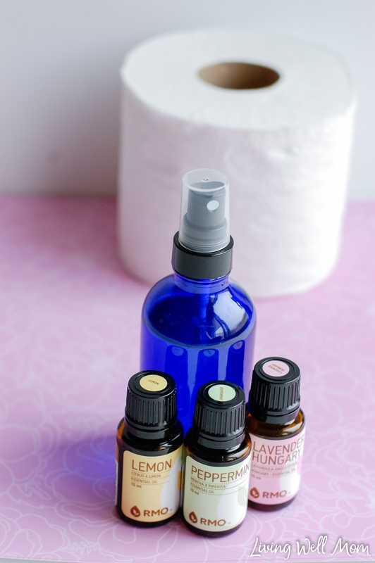 """Homemade ""Before-You-Go"" spray - this 3-ingredient spray uses essential oils to naturally deodorize your bathroom before and after you ""go""! """