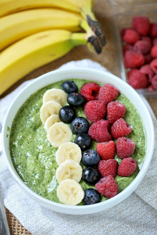With a hint of matcha green tea, this satisfying Matcha Green Tea Smoothie Bowl is both good for you and delicious! It's packed with spinach, avocado, chia seeds, and more and can be made with or without your favorite protein powder. Plus the matcha green tea powder will give you a nice natural energy boost. This recipe is grain-free, gluten-free, dairy-free, and Paleo.