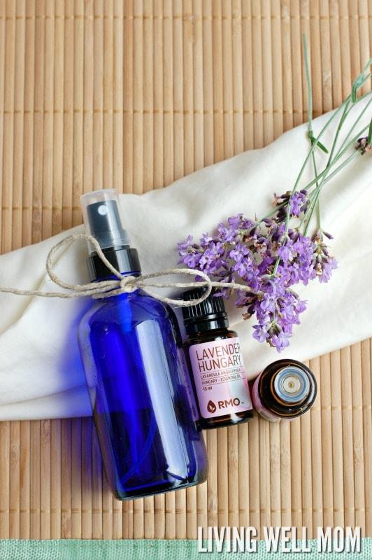 lavender oil next to a diy linen spray