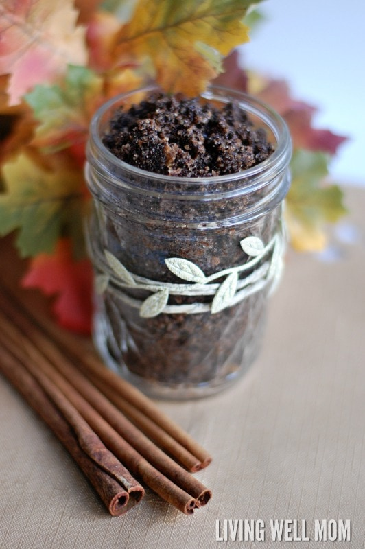 I can't believe how simple this DIY coffee scrub was to make! It only took me 5 minutes to make and uses my favorite essential oils, smells like autumn, and was so refreshing. Love this easy homemade pampering recipe!
