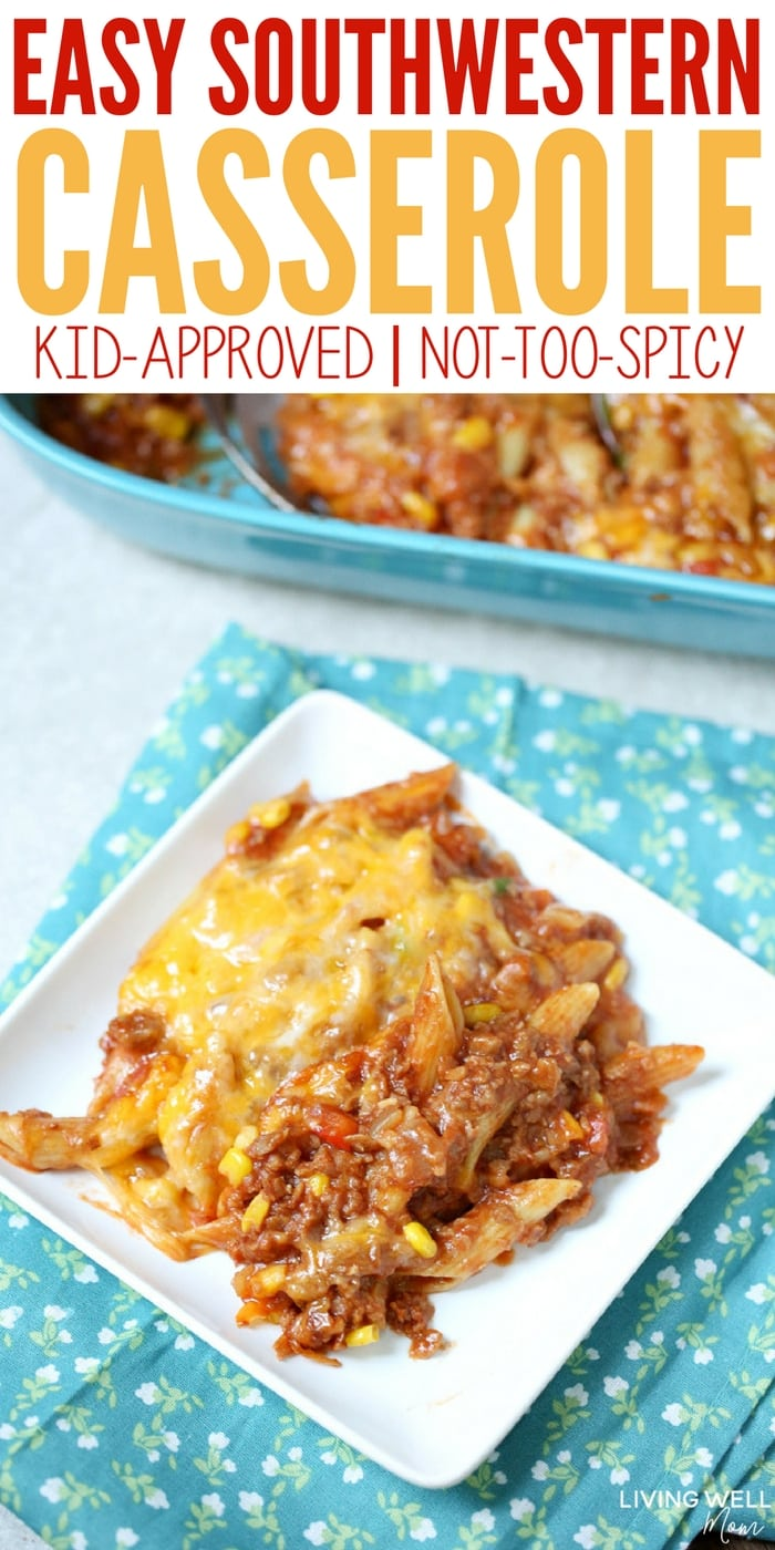 With ground sausage, this Easy Southwestern Casserole is a delicious dinner that's got flavor without too much spice. This recipe is kid-approved and a perfect busy weeknight quick-and-easy meal. Plus there's an easy gluten-free option and can be made dairy-free as well.
