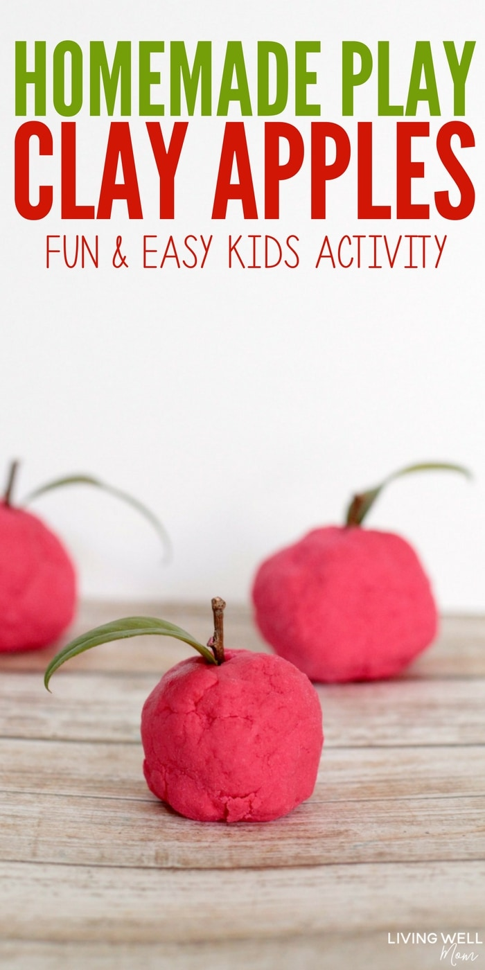 Looking for something a little different from play-doh? Check out this simple recipe for play clay and easy instructions for how to make clay apples. Kids of all ages will enjoy this fun activity!