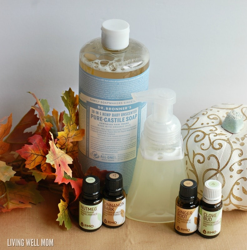 Love pumpkin spice? Try this DIY Pumpkin Spice Foaming Hand Soap! It takes just 5 minutes to make AND fights germs naturally with essential oils, all with your favorite fall scent.