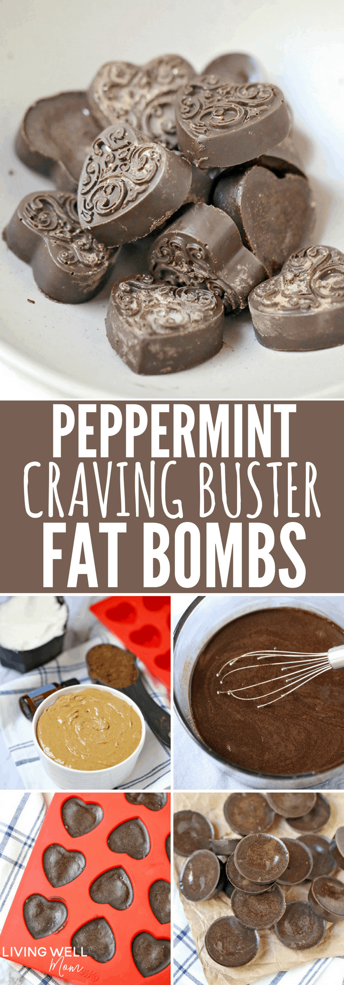 Peppermint Craving Buster Fat Bombs - these simple 4-ingredient fat bombs are quick & easy to make, high fat, low carb and no bake. They're so delicious, it's hard to believe they're sugar-free, dairy-free, and Paleo! #lowcarb #lowcarbrecipes #lowcarbideas #paleorecipes #nobake #dairyfree #glutenfree #sugarfree
