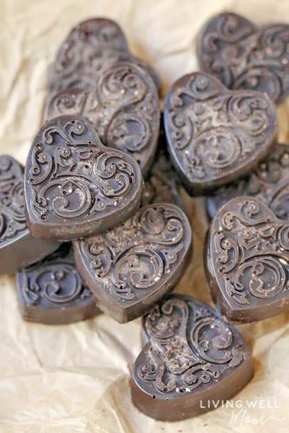 heart shaped chocolate peppermint keto fat bombs
