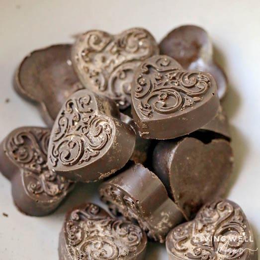 molded chocolate heart keto fat bombs