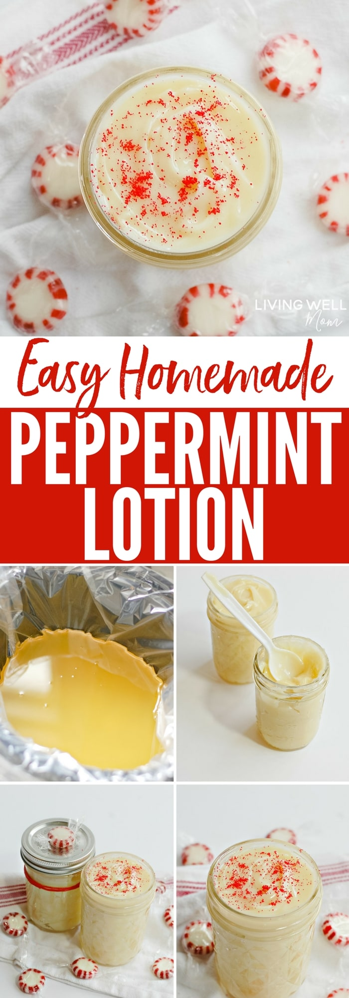 Dry skin? Try this homemade peppermint lotion with essential oils! You make this simple DIY recipe in your slow cooker and the result is a luxurious natural healing moisturizer you'll love!