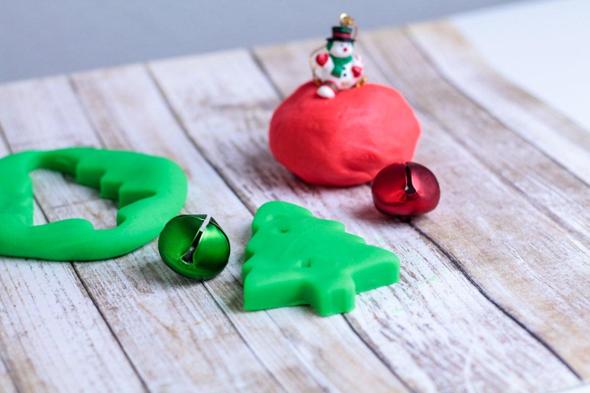 red and green homemade playdough for christmas