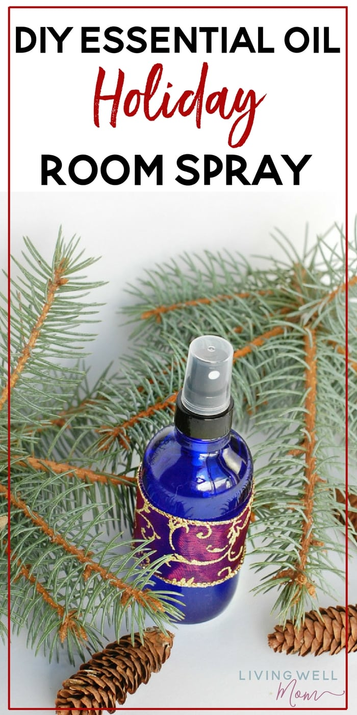 """This delightful DIY holiday-scented essential oil room spray is all-natural and only takes a couple minutes to make. With pine and """"Christmas cheer"""", it's a lovely homemade gift idea too."""