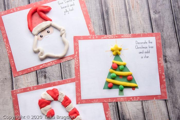 Trio of printable playdough mats for christmas