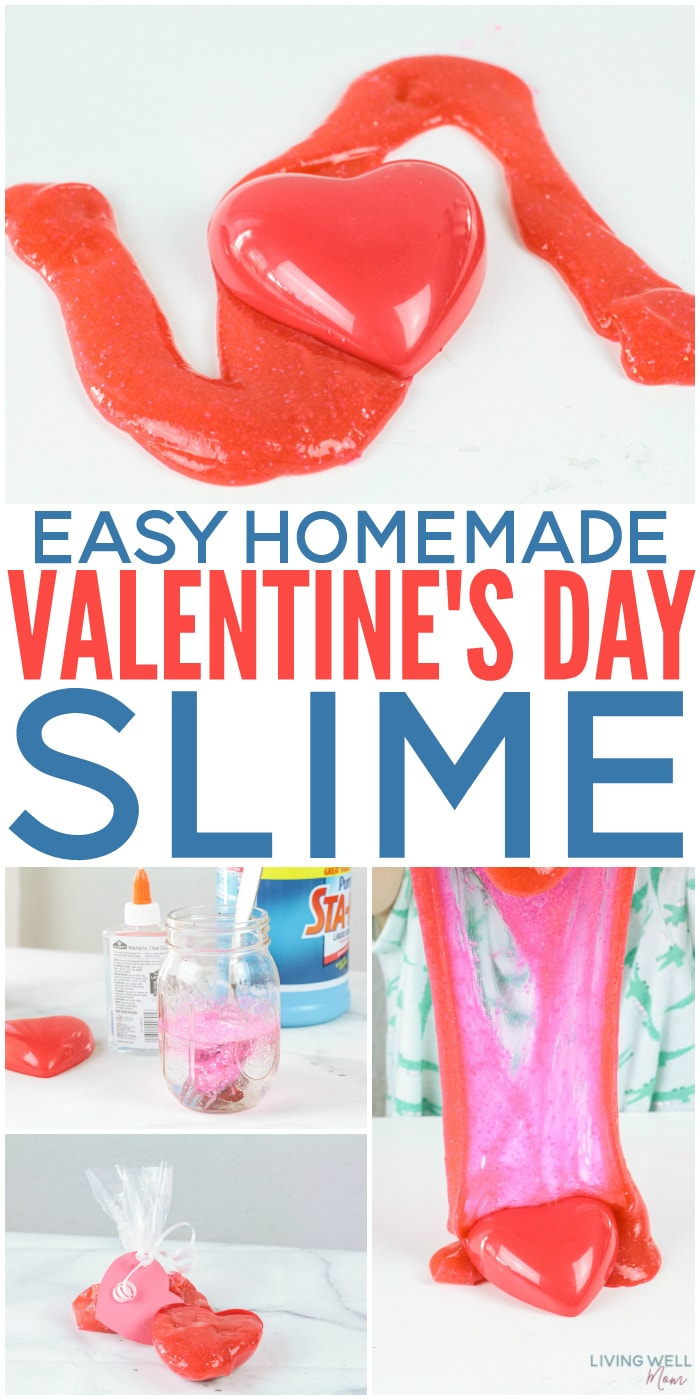 Easy homemade Valentine's Day slime is a fun seasonal sensory activity and it makes a great non-candy Valentine treat. You can even make a big batch to share with your child's class or use as party favors.