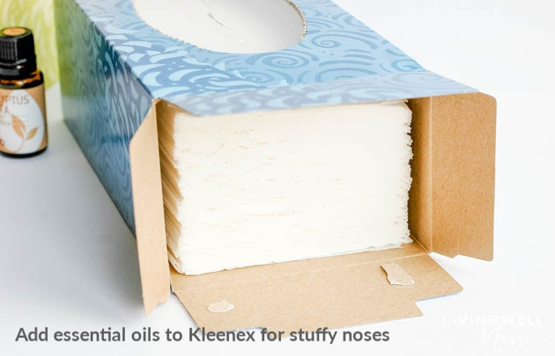 open tissue box with essential oils simple essential oil infused tissues are fast and easy to make and can help soothe and support - learn how to make them here. #essentialoils #stuffynose