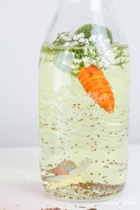 DIY sensory bottle containing a butterfly, seeds, a carrot, moss and flowers.