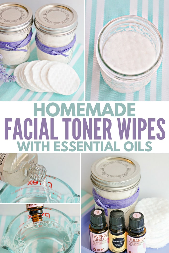 Recipe for homemade facial toner wipes with essential oils.