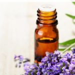 essential oil bottle and lavender